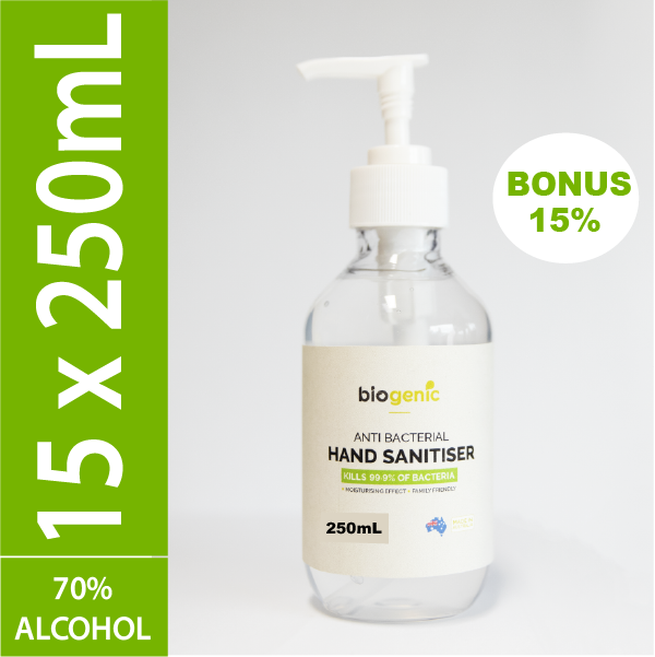 15 x 250mL Biogenic Hand Sanitiser ($5.53 each)