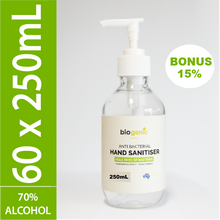 Load image into Gallery viewer, 60 x 250mL Biogenic Hand Sanitiser ($6 each) (15% extra sanitiser)