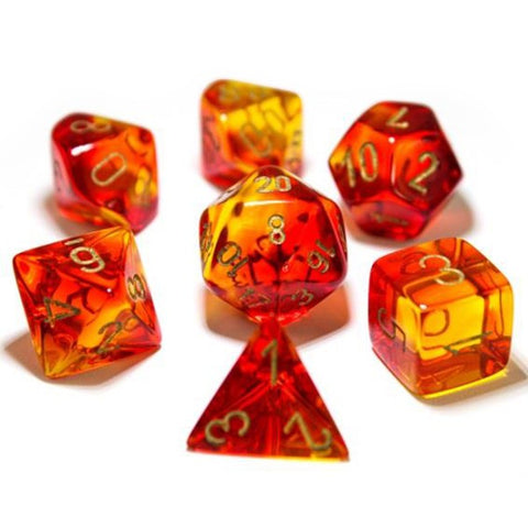 7-set Dice Cube Lab Dice Gemini Red-yellow/gold