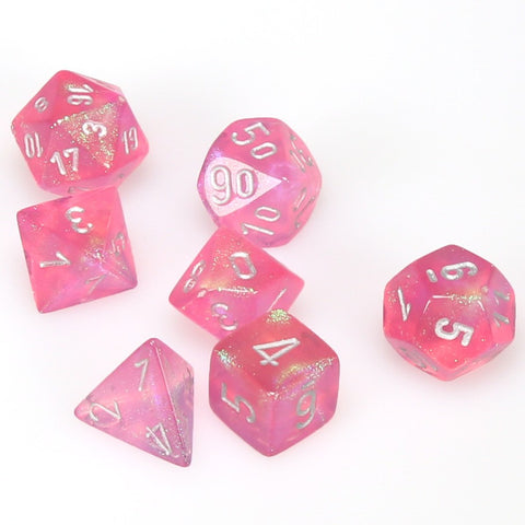 7-set Dice Cube Borealis pink with silver