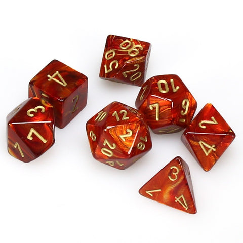 7-set Dice Cube Scarab Scarlet with Gold