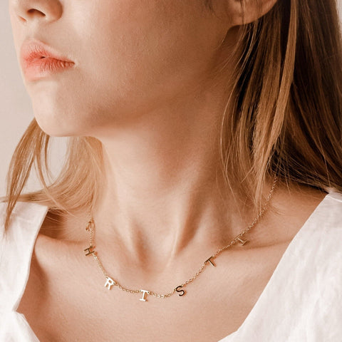 personalised initial letter name necklace