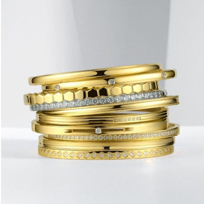 18K Gold Plated Stackable Gold Bangles
