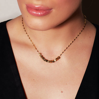 Gold Square Beads Necklace -18K Gold Plated