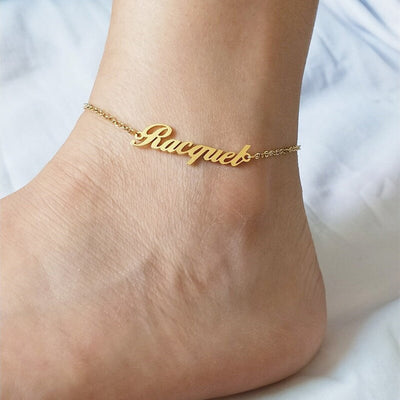 personalised name anklet gold