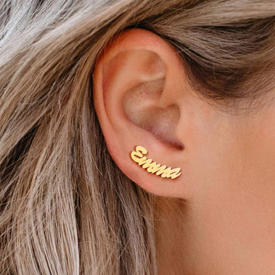 personalised name studs earrings