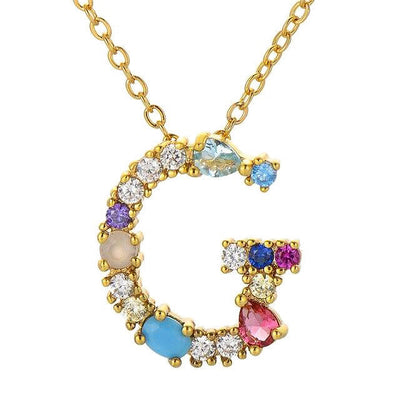 multi colour initial letter pendant necklace G