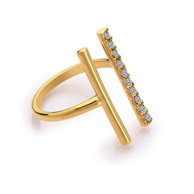 gold plated crystal cocktail ring for parties