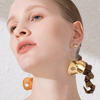 gold bold statement trendy earrings