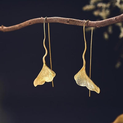 Gold Lotus Leaf Drop Earrings | Handmade Unique Statement Jewellery