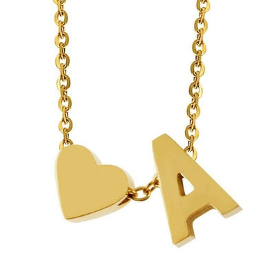 heart & initials charm necklace
