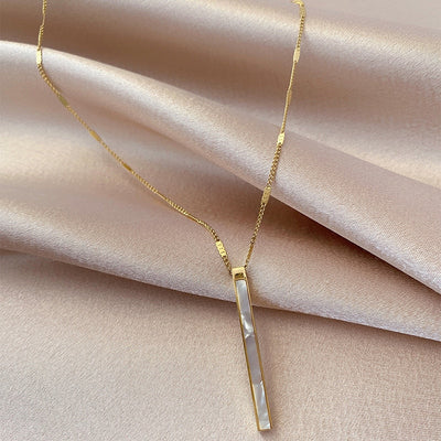 18K Gold Plated Seashell Vertical Bar Necklace