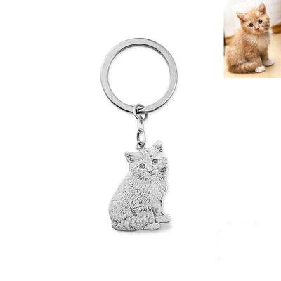 Pet Photo Engraved Sterling Silver Keychain