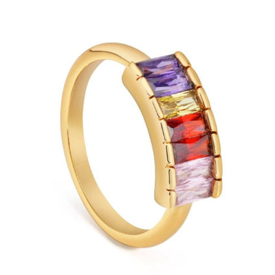 18ct Gold Plated colour ful Crystal Cocktail Ring