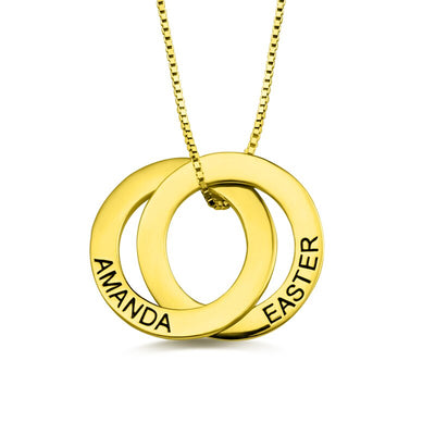 Personalised 2 Rings Name Necklace