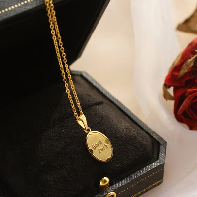 good luck pendant charm necklace gold
