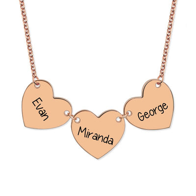 Personalised 3 Heart Charm Necklace -925 Sterling Silver - Gold Plated