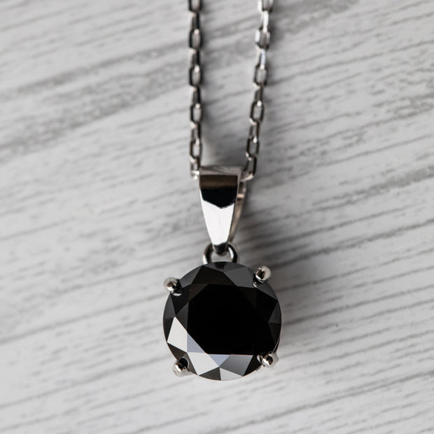 Black Moissanite Basket 925 Sterling Silver Pendant