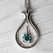 2 Carat Blue Moissanite Swinging 925 Sterling Silver Pendant