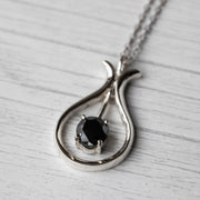 2 Carat Black Moissanite Swinging 925 Sterling Silver Pendant