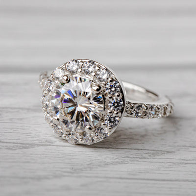 1.5 Carat G Moissanite Halo 925 Sterling Silver Ring