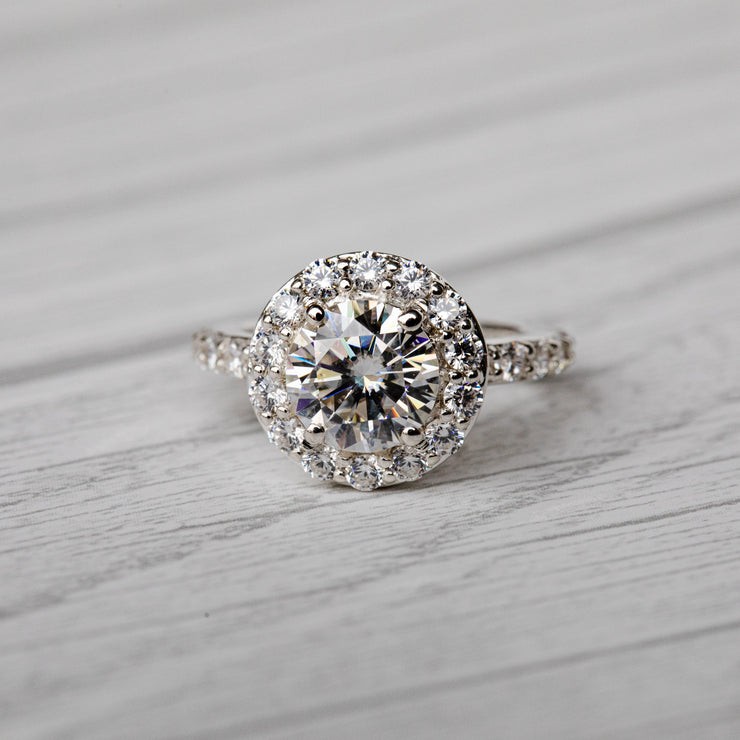 1.5 Carat D Moissanite Halo 925 Sterling Silver Ring