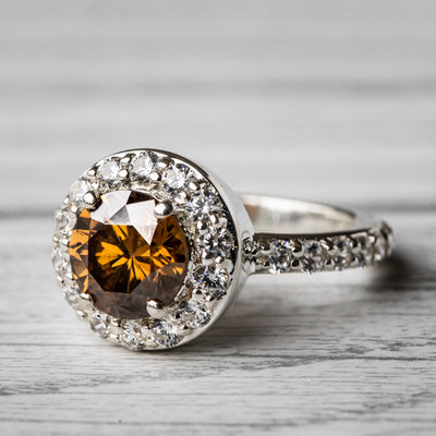 1.5 Carat Brown Moissanite Halo 925 Sterling Silver Ring