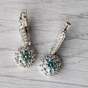 2 Carat Blue Moissanite Hanging Halo 925 Sterling Silver Earrings