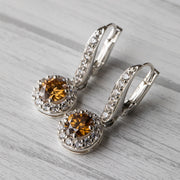 2 Carat Brown Moissanite Hanging Halo 925 Sterling Silver Earrings