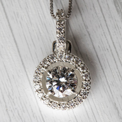 2 Carat D Moissanite 925 Sterling Silver Hanging Halo Pendant
