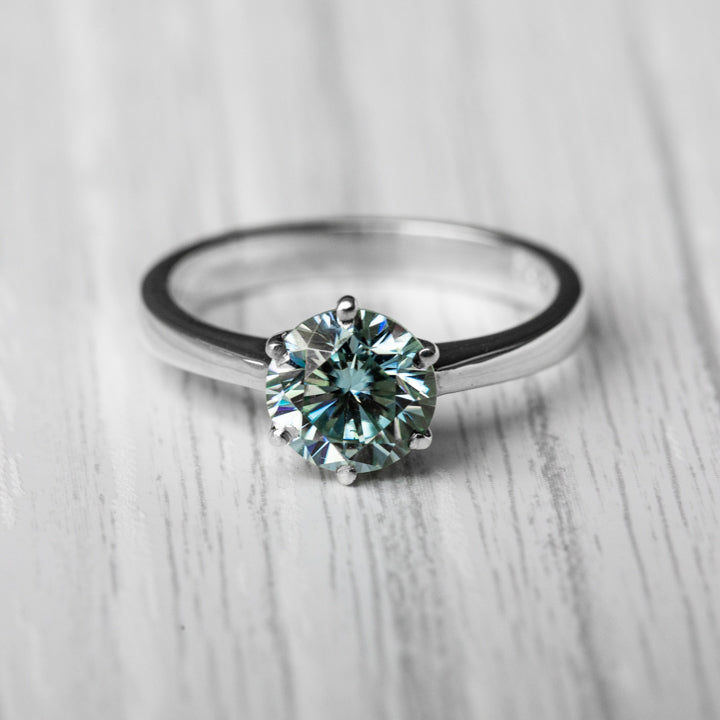 1.5 Carat 6 Clasp Light Blue Moissanite 925 Sterling Silver Ring