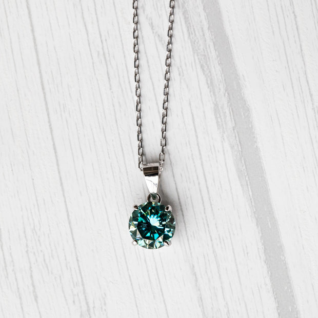 Blue Moissanite Basket 925 Sterling Silver Pendant