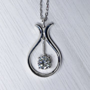 2 Carat D Moissanite Swinging 925 Sterling Silver Pendant