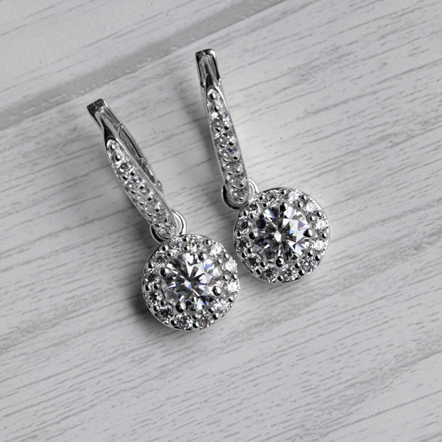 2 Carat D Hanging Halo 925 Sterling Silver Earrings