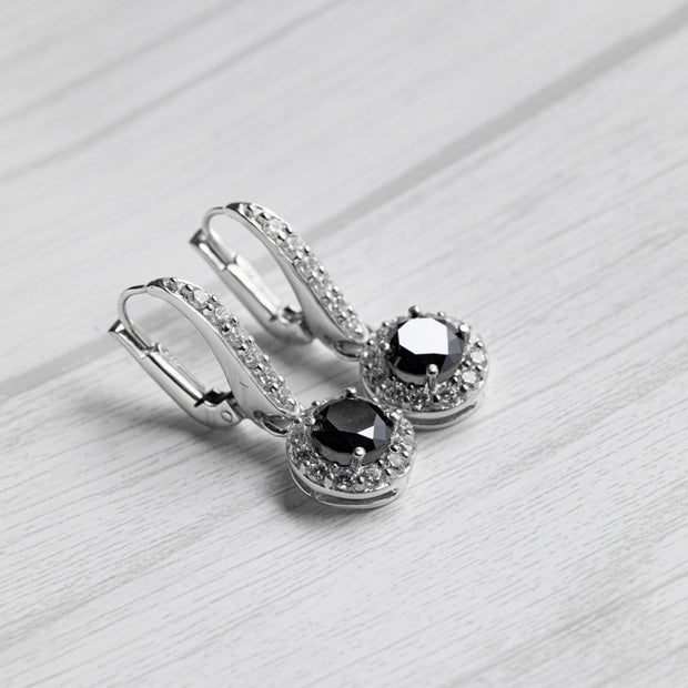 2 Carat Black Moissanite Hanging Halo 925 Sterling Silver Earrings