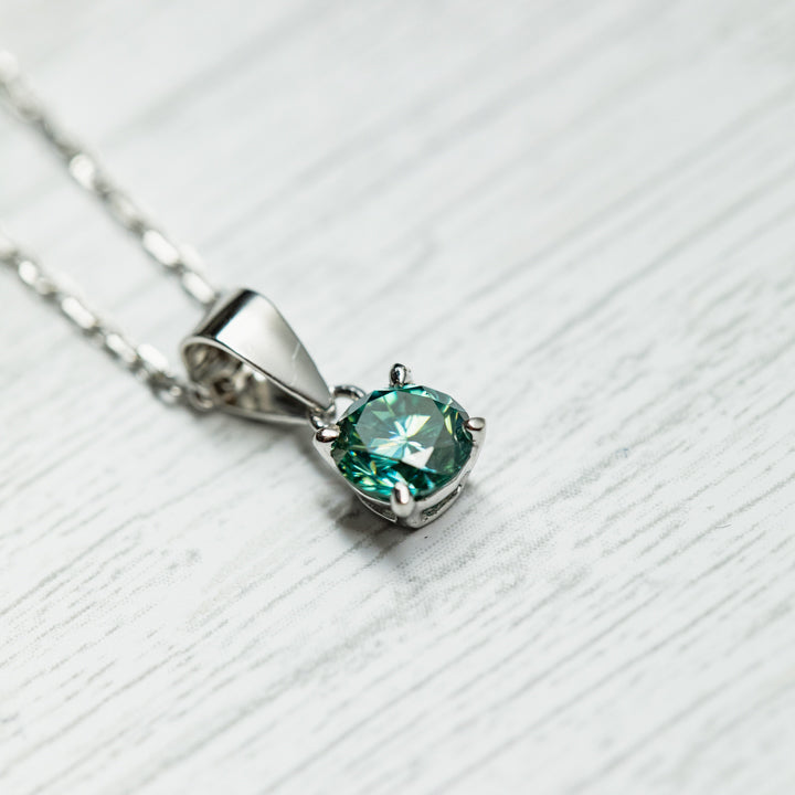 0.4 Carat Blue/Green Moissanite 925 Sterling Silver Pendant