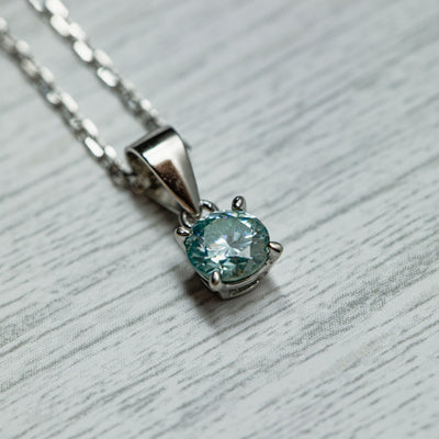 0.4 Carat Light Blue Moissanite 925 Sterling Silver Pendant