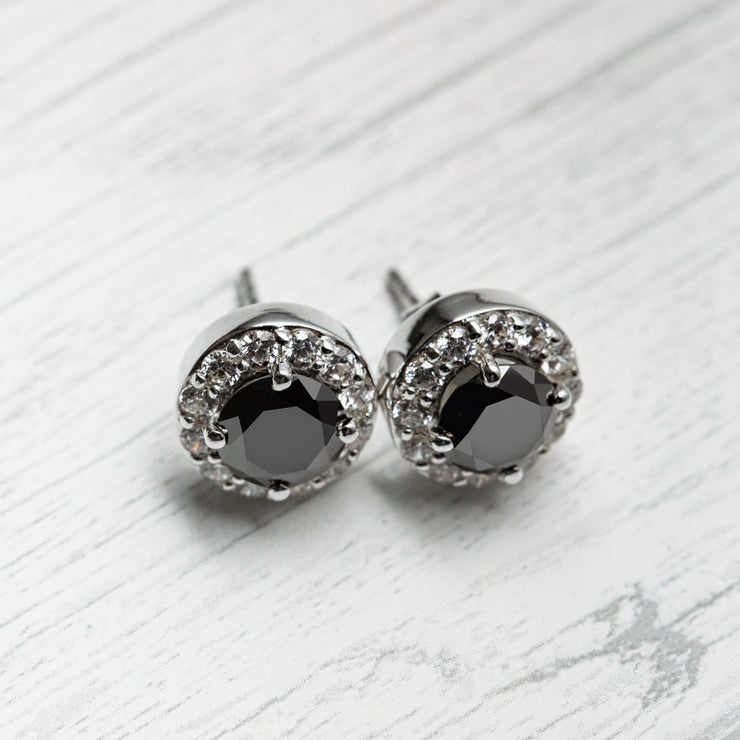2 Carat Black Moissanite 925 Sterling Silver Fixed Halo Earrings