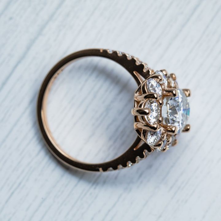 5 Carat Oval D Moissanite Halo Rose Gold Ring