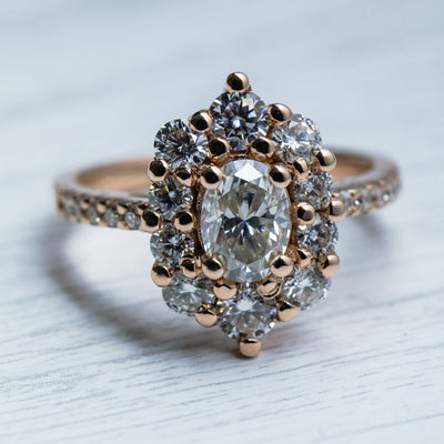2.5 Carat Oval G Moissanite Halo Rose Gold Ring
