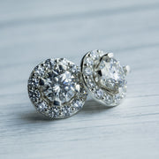 3 Carat D Moissanite 925 Sterling Silver Removable Halo Earrings