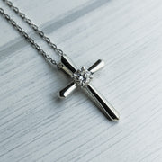 0.36 Carat D Moissanite 25mm 925 Sterling Silver Cross