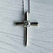 0.4 Carat D Moissanite 30mm 925 Sterling Silver Cross