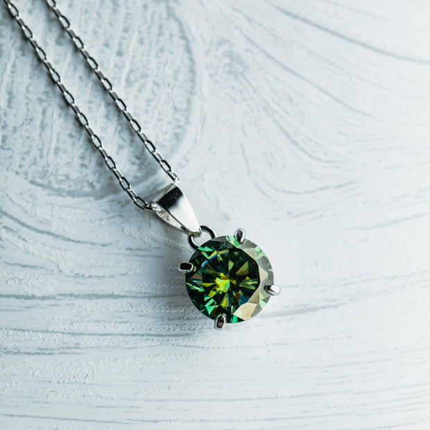 2.7 Carat Green Moissanite 925 Sterling Silver Basket Pendant