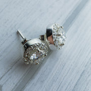 2 Carat D Moissanite 925 Sterling Silver Fixed Halo Earrings