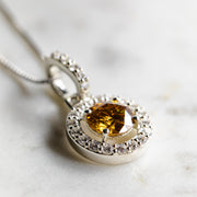 2 Carat Brown Moissanite 925 Sterling Silver Hanging Halo Pendant
