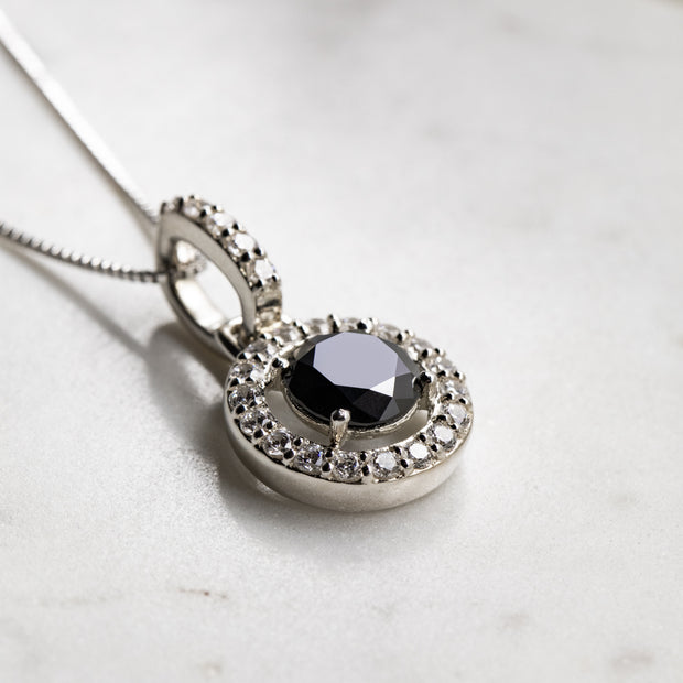 2 Carat Black Moissanite 925 Sterling Silver Hanging Halo Pendant