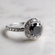 1.3 Carat Black Moissanite Halo 925 Sterling Silver Ring