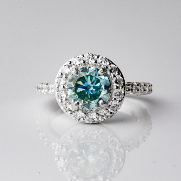 1.5 Carat Blue Moissanite Halo 925 Sterling Silver Ring