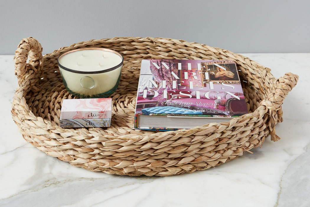etúHOME Large Coffee Table Rush Basket